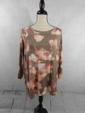 Apt 9 Womens 0X Plus 1X XL Khaki Pink Floral Abstract 3/4 Sleeve Top Blouse
