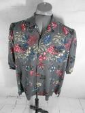 Tommy Bahama Mens XL Grey Floral Pink Hibiscus Hawaiian Button Down Shirt Camp