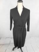 Ann Taylor Womens Black 10P 10 Petite V Neck Belted 3/4 Sleeve Dress M L Wrap
