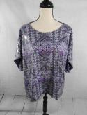 Style & Co Womens L Purple Geometric Black Sequin Front Blouse Top Shirt Loose