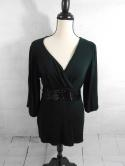 INC Womens L Black Sequin Belted 3/4 Sleeve Capped Blouse Top Cinched V Neck