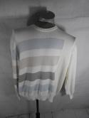 Dalmine Mens 52 XL Made in Italy 100% Cotton Pullover Sweater Striped Geometric