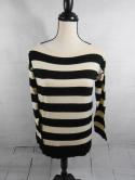 J Crew Womens XS Ivory White Black Striped Boat Neck 3/4 Sleeve Top Shirt S M