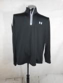 Under Armour Mens XL Black Reflective Gray Silver 1/4 1/2 Zip Pullover Jacket