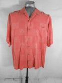 Tommy Bahama Mens L Salmon Pink Silk Embroidered Hawaiian Button Down Shirt Camp