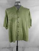 Tommy Bahama Mens L Light Green Silk Palm Leaves Hawaiian Button Down Shirt Camp