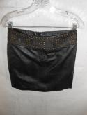 NWT Cache Womens 4 S Black Genuine Leather Pencil Mini Skirt Studded Club Party