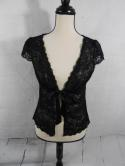 White House Black Market Womens S Lace Sheer Cover Up Tie Cardigan Sweater
