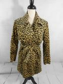 Betsy Johnson Womens S Leopard Cheetah Print Faux Fur Belted Jacket Trench Coat