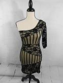 Janice Womens S XS Black Biege Sexy One Shoulder Party Lace Dress USA Sequin