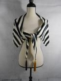 La Perla Womens 44 Made in Italy Striped Black Ivory Cover Up Beach Tassel