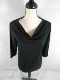 Additions by Chicos Womens 1 Scoop Cowl Neck 3/4 Sleeve Black Top Blouse Shirt