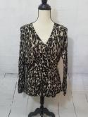 Cabi Womens L Black Beige Leopard Abstract Cheetah V Neck Long Sleeve Top Blouse