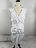 Calvin Klein Womens 12 L Ruched Dress Sleeveless V Neck Cocktail Evening Party