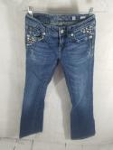 Miss Me Womens 26 JP5141BR Boot Cut Washed Distressed Jeans Buckle Bling Denim