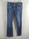 Miss Me Womens 24 JE5453B7R Boot Cut Washed Distressed Jeans Buckle Bling Flare