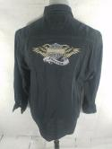 Harley Davidson Motorcycles Forever Mens L Black Long Sleeve Button Down Shirt