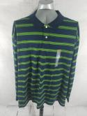 NWT Foundry Mens 5XL Plus Size Navy Green Striped Long Sleeve Polo Shirt Cotton