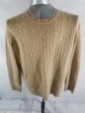 Allen Solly Mens XL Beige Cable Knit 2 Ply 100% Cashmere Crew Neck Sweater