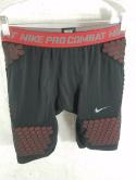 Nike Pro Combat Compression Mens L Black Red Padded Shorts Football Training Gym
