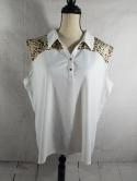 Zenergy by Chicos Womens 3 Leopard Print White Sleeveless Polo Shirt Top Dry Fit