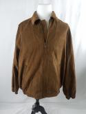 Gary Player Mens XLT XL Tall Brown Faux Suede Leather Zip Up Golf Jacket Bomber