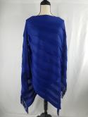 Chicos Travelers Womens S/M Fringe Blue Sheer Shawl Poncho Cover Up Blouse Top