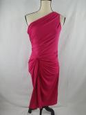 Boston Proper Womens 8 Pink Ruched One Shoulder Cocktail Dress Evening Gown S M