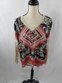 Cabi Womens S Silk Tribal Indian Beige 3/4 Sleeve Loose Blouse Top Shirt V Neck
