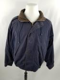 VTG Nautica Mens L Navy Blue Leather Collar Sailing Jacket Hooded Retractable