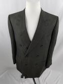 Ermenegildo Zegna Mens 42 44 Double Breasted Peak Lapel Suit Jacket 54 Plaid