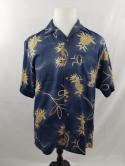 Tommy Bahama Mens S Silk Blue Yellow Pineapple Button Down Hawaiian Camp Shirt