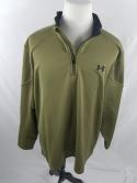 Under Armour Mens XXL UA Olive Green 1/2 1/4 Zip Pullover Golf Jacket Army