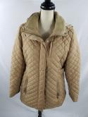 Calvin Klein Womens L Beige Tan Quilted Faux Fur Zip Up Jacket Hooded Coat Long