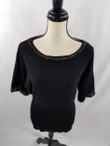 Cache Womens S Gold Chain Black Knit Loose Top 3/4 Sleeve