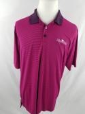 Under Armour Mens L Loose Pink Striped Colonial Country Club Golf Polo Shirt