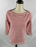 Burberry Brit Womens M Red White 3/4 Sleeve Knit Boat Cowl Neck Top Shirt