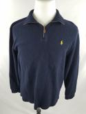 Polo Ralph Lauren Mens L Blue Yellow Pony Knit 1/2 Zip 1/4 Sweater Jacket M