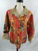 Chicos Womens 2 Faux Fur Suede Pioneer Abstract Button Down Jacket Orange