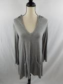 Soft Surroundings Womens S Gray Hoodie Tunic Top Sweater Long Sleeve V Neck