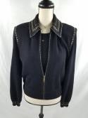 St John Collection Marie Gray Womens M 8 Black Zip Up Knit Jacket w Matching Top