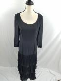 VTG Complice Womens US 10 M Italy Made Black Ruffle Tiered Ball Gown Maxi Dress