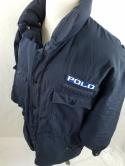 VTG  Polo Ralph Lauren Navy Ski Coat Down Jacket Snow Beach Puffer Spellout 1992