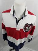 Canterbury Rugby Supply Red White Blue Striped Mens L Rugby Polo Jersey Shirt
