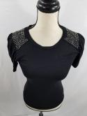 Miss Me Womens S Black Bling Ruched Shoulder Crew Neck Top T Shirt Stretch