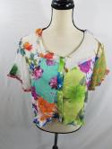 NWT Sacred Threads Womens M 26302 Patch Mismatched Hippie Boho Button Top Blouse