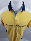 VTG Tommy Hilfiger Mens M Big Flag Colorblock Yellow Spell Out Polo Shirt Rugby