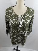 Talbots Womens L Olive Green White Palm Lace 3/4 Sleeve Split Neck Blouse Top