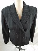 Express Womens M Black Pinstripe Double Breasted Peak Lapel Blazer Suit Jacket