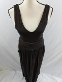 Vanessa Virginia Anthropologie Womens M Brown Ruched Sleeveless Maxi Dress